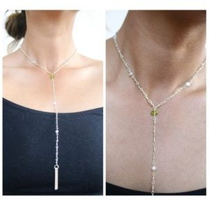 Peridot and Moonstone Lariat Necklace Metal Bar